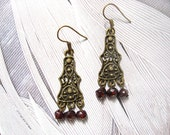Amisha earrings - beautiful antiqued brass finished filigree metal and hand cut deep red garnet stone bead earrings
