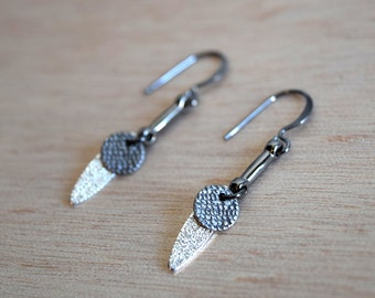 Jareth earrings - gunmetal plated metal hooks with circle and oval charms - David Bowie / Labyrinth / Goblin King / White Barn Owl / Maze