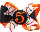 Baseball Hair Bow - orange black or choose colors- choose any sport- huge selection of colors