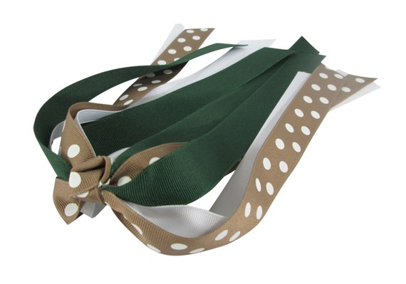 Hair Bow, Green Tan Taupe Bow, Ponytail Streamer Hair Bow - choose any colors. Match team or school