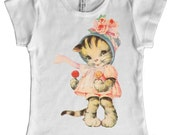 Kitten with Lollypops Kids T shirt, Cute Cat in Pink Dress, size 2, 4, 6, 8, 10, or 12