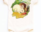 Bunnies Bodysuit, Organic One Piece, Rabbits and Carrot, Baby Infant, Easter Shirt, baby layette, infant, 3m, 6m, 12m, 18m