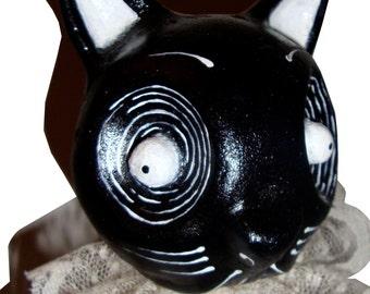 Black Cat -  Creepy Cute  Pumpkin Halloween Horror Gothic Handmade Folk Art Primitive Doll Decoration
