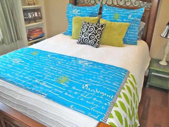 bedding bed runner set penmanship. Black Bedroom Furniture Sets. Home Design Ideas