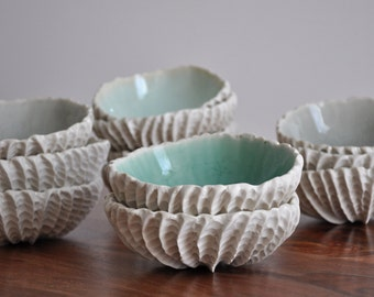 Medium Scallop Bowl - Choice of Color - White Ceramic Bowl