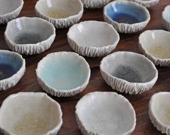 Tiny Geode Bowl - Choice of Color Small White Ceramic Bowl Porcelain Bowl