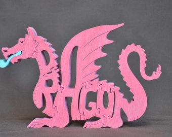 Fantasy Pink Dragon Wood Puzzle Hand Cut with Scroll Saw Toy