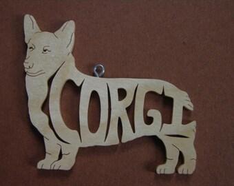 Corgi  Dog  Ornament Wooden Hand Cut Christmas Tree Decoration
