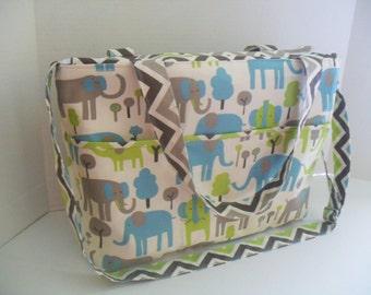 Elephant Diaper Bag -  Zipper Closure - Messenger - Tote Bag - Diaper Bag - Stroller Strap - Monogramming Available - Laptop