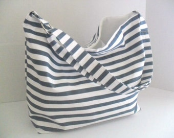 Hobo - Blue and White Stripe - Messenger Bag - Crossbody - Diaper Bag - Beach Bag