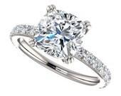 amora gem sage ring - 2 carat engagement ring, diamonds, 14k white gold