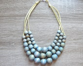 Blue Statement Necklace - Multistrand Necklace - Layered Necklace