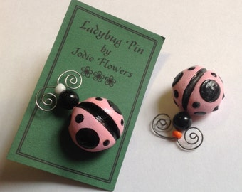 Pink Ladybug pin and tack for the wall
