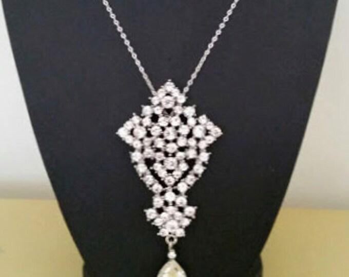 Crystal Wedding Necklace Art Deco Pendant