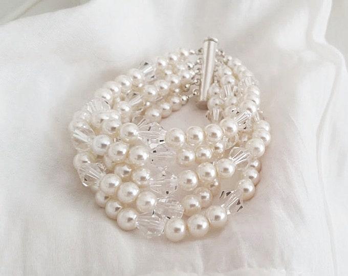 Pearl and Crystal Bracelet Swarovski Ivory Pearl Cuff Wedding Jewelry for Brides Bridal Statement Bracelet Gatsby Art Deco Bridal Jewelry