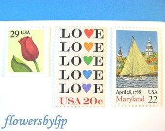 Love Maryland Sailing Postage Stamps, Annapolis Nautical - Love Hearts - Red Tulip Flower Stamps, Mail 20 Wedding Invitations 2 oz 70 cents