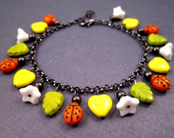 Colorful Charm Bracelet, Ladybugs Flowers and Hearts, Yellow Green Orange and White, Gunmetal Silver Chain Bracelet, FREE Shipping