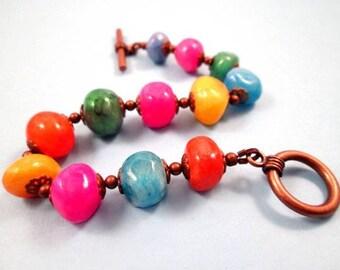 Chunky Gemstone Bracelet, Colorful and Copper Beaded Bracelet, FREE Shipping U.S.