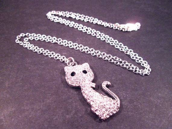 CAT Necklace, White Glass Rhinestone and Silver Pendant Necklace, FREE Shipping U.S.