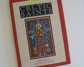 SALE St. Patrick's Day gift idea A Little Book of Celtic Saints by Martin Wallace, full color stained glass style illustrations
