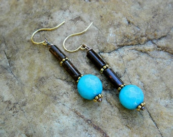 Faceted Turquoise Jade Drop Earrings