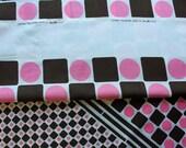 Pink and Brown Multi-Dots - Vintage Fabric - Wamsutta Mills - 44x56