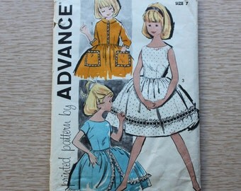 "25"" Chest - 1950s Sewing Pattern - Advance 9766 Girls' Dress"
