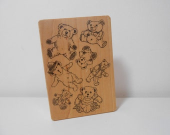 Teddy Bears Rubber Stamp, Large Wood Mounted Rubber Stamp Teddy Bear,