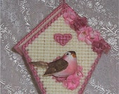 Pink Birdhouse Plastic Canvas Ornament Decoration