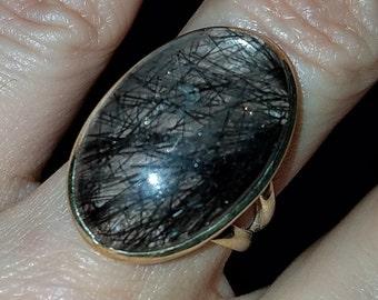 Sterling Rutilated Quartz Ring Black Tourmaline Venus Hair Stone 6 1/2
