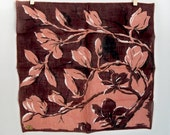 Vintage Floral Handkerchief - Magnolias in Sophisticated Brown Print - Irish Linen MWT