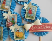 Mother Goose Rosette Cupcake Toppers - Blue - Nursery Rhymes - Child Birthday Party Decorations - Baby Shower Decorations - Set of 12