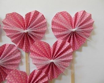 Heart Rosette Cupcake Toppers - Pink Polka Dots and White Tulle - Girl Baby Shower Decorations - Girl Birthday Party Decorations - Set of 6