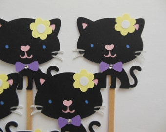 Kitty Cat Cupcake Toppers - Black - Girl Birthday Party Decorations - Girl Baby Showers - Set of 6