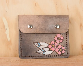 Front Pocket Wallet - Leather in the Dakota Pattern with flowers - Pink and antique black