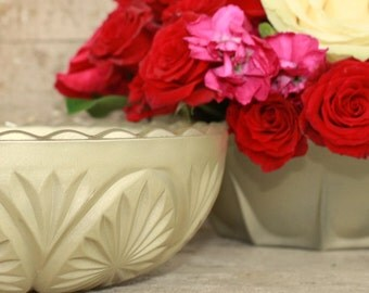 Champagne gold bowl vase, gold centerpiece, Set of 3 champagne gold vintage bowls, gold wedding decor, gold crystal vase, fall wedding decor