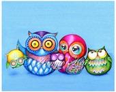 Owl Decor - Owl Painting - Whimsical Owl Painting - Nursery Wall Art - Family Portrait - Whimsical Nursery Watercolor Painting - Animal Art