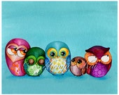 Fabric Owl Family Art Print - Cute Bird Modern Owl Wall Decor - Nursery Decor -  5x7, 8x10, 11x14, 12x16 + Large Prints