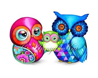 Owl Art - owl art prints, owl artwork, owl nursery , nursery print
