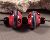 Handmade Lampwork Beads by Monaslampwork - Red and Black Earring Pair - Lampwork Glass Beads by Mona Sullivan Bohemian Organic Tribal Boho