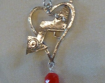 Sterling Silver Heart Arrow Charm Pendant Necklace