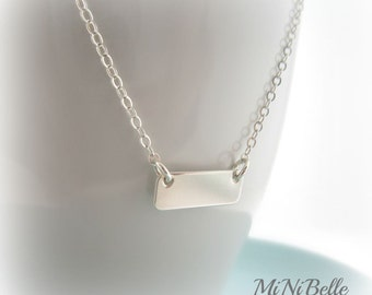 Simple Bar Sterling Silver Necklace. Petite Bar Necklace. Personalized Jewelry