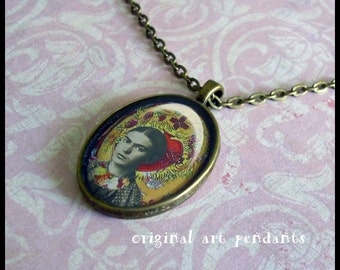 Young Frida, Walk In Grace...original art pendants, gift boxed, Ready To Ship TODAY,   Frida Kahlo pendants