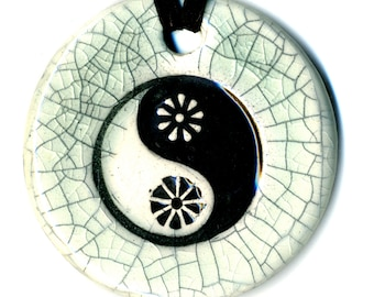 Yin Yang Ceramic Necklace in Crackle
