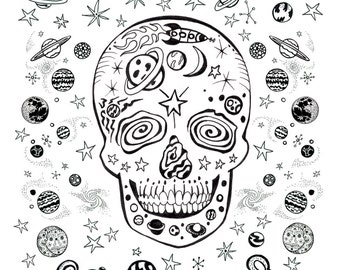 Coloring Art Print Space Skull 11x17 Poster Art For You To Color with FREE Markers