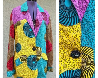 SALE...........Vintage 80s ethnic beaded jacket / new wave / bold colors / boho / rainbow / tribal print / club kid