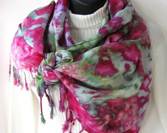 Boho Accessories Scarf Hand dyed blanket style fringe scarf for women spring fashion accessories pink and green scarf Unique handmade scarf