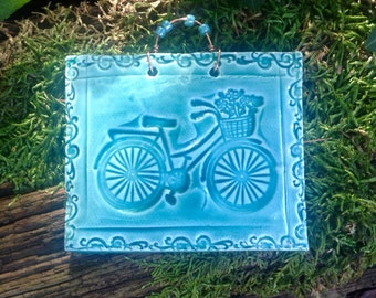 Old Fashioned Bicycle Tile in Translucent Turquoise