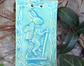 Storybook Bunny Ceramic Tile in Turquoise