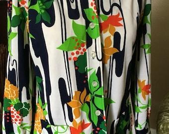 Polyester print shirt sz M/L vintage 60s